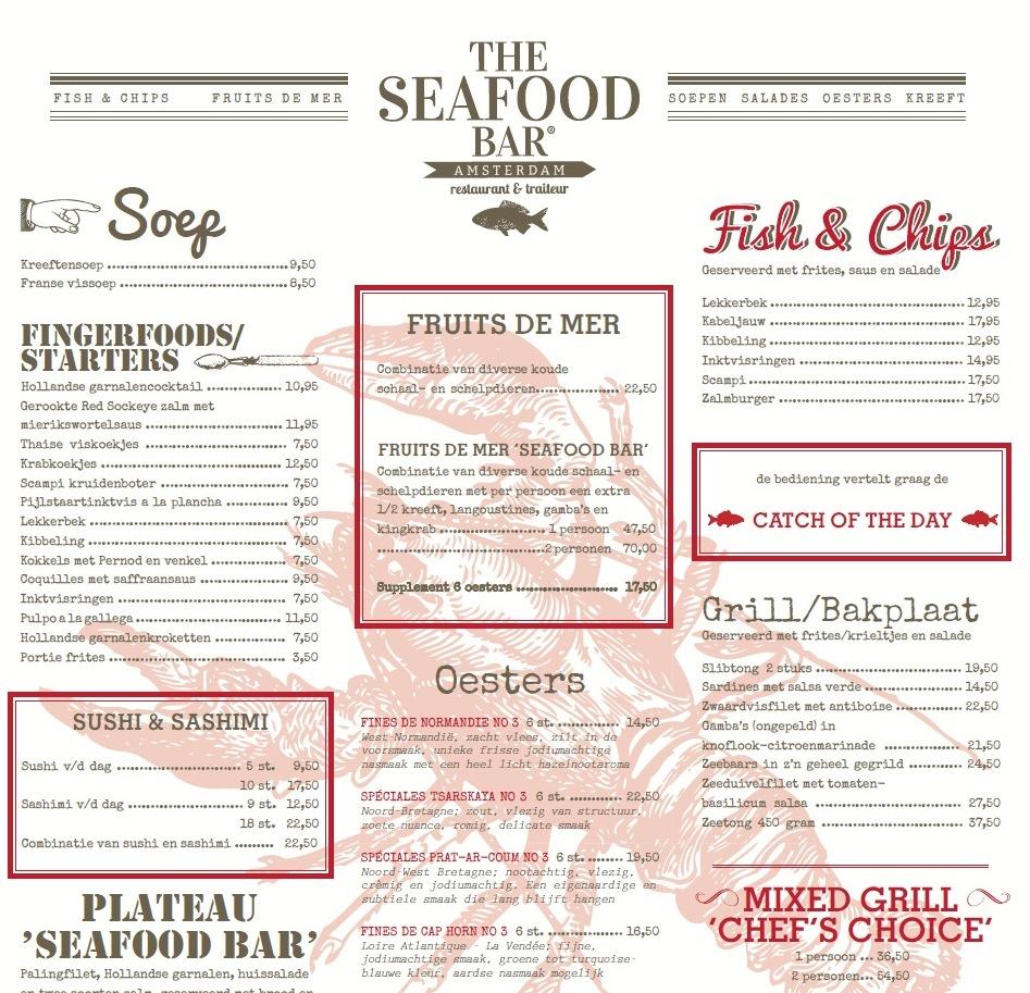 Menukaart seafood bar